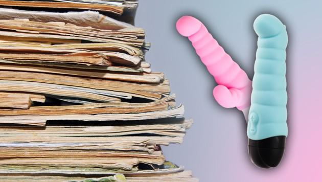 Die stattliche Pornosammlung bestand aus Magazinen, DVDs und diversem Sexspielzeug. (Bild: stock.adobe.com, krone.at-Grafik)