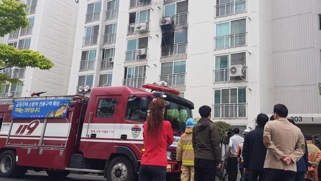 In diesem Hochhaus in Jinju ereignete sich die Bluttat. (Bild: AFP)