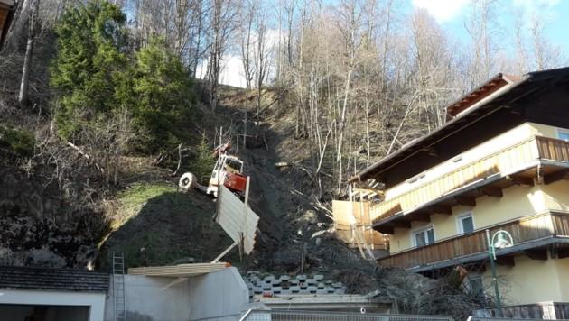 Die Gefahrenstelle im Bereich Siegmundshof in Saalbach (Bild: Land Salzburg/Pongruber)