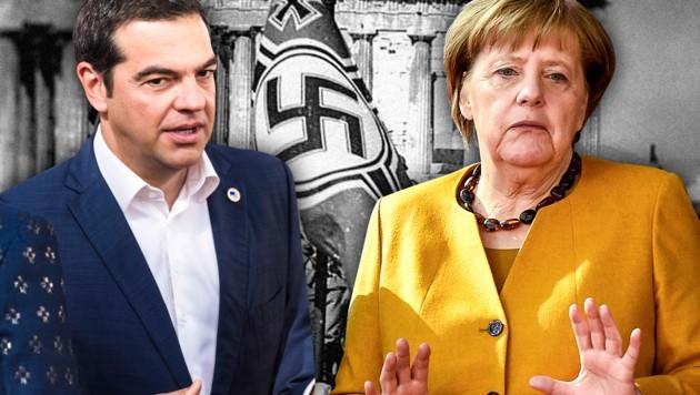 """""""Die Forderung von Reparationszahlungen ist für uns eine historische und moralische Pflicht"""", sagt Griechenlands Regierungschef Alexis Tsipras. Doch die Merkel-Regierung in Berlin will der Forderung nicht nachkommen. (Bild: AP, AFP, wikipedia.org, krone.at-Grafik)"""