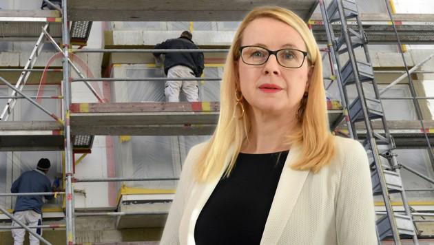 Wirtschaftsministerin Margarete Schramböck (ÖVP) nimmt sich des Themas Wohnen an. (Bild: APA/HELMUT FOHRINGER, APA/ROLAND SCHLAGER, krone.at-Grafik)