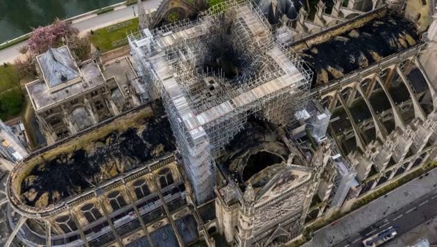 Luftaufnahmen zeigen das Ausmaß des Schadens an Notre Dame nach dem Brand.