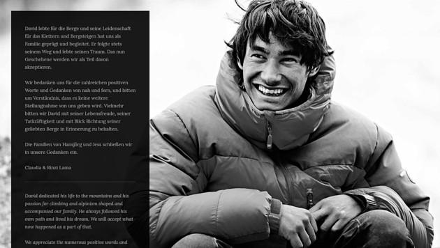 Mit diesem Statement meldeten sich David Lamas Eltern auf seiner Website und in den sozialen Netzwerken. (Bild: Screenhot www.david-lama.com)