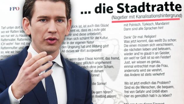 (Bild: APA/AFP/FREDERICK FLORIN, FPÖ Oberösterreich, krone.at-Grafik)