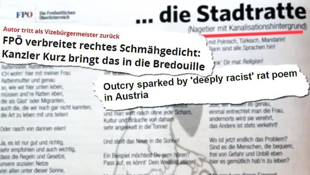 """Die Liste an rechten Ausrutschern der FPÖ ist lang. Im April 2019 sorgte der blaue Vizebürgermeister von Braunau, Christian Schilcher, mit seinem """"Rattengedicht"""" in einem Parteiblatt für Empörung. Er verglich darin Menschen mit Ratten - einen Tag später trat er zurück. (Bild: Screenshot BBC, Screenshot Focus, FPÖ Oberösterreich, krone.at-Grafik)"""