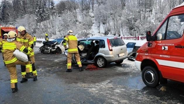 Die Unfallstelle des Dramas vom 31. Jänner 2019 in Hollersbach (Bild: FF Hollersbach)