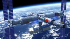 """Künstlerische Illustration von Chinas geplanter Raumstation """"Tiangong"""" (Bild: CMSEO)"""