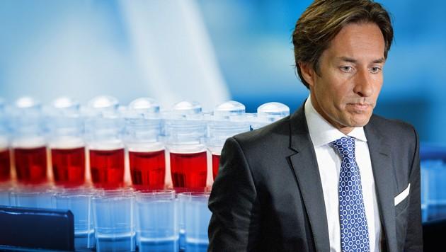 Karl-Heinz Grasser füllt im Zusammenhang mit dem PR-Flop rund um ein Brustkrebs-Testverfahren deutsche Medien. (Bild: stock.adobe.com, APA/HERBERT NEUBAUER, krone.at-Grafik)