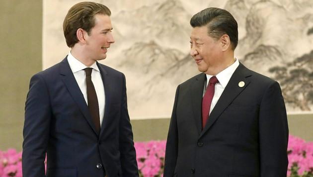 Bundeskanzler Sebastian Kurz mit Chinas Präsident Xi Jinping in Peking (Bild: BUNDESKANZLERAMT/DRAGAN TATIC)