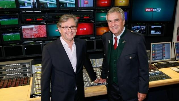 ORF-General Alexander Wrabetz und der scheidende Landesdirektor Gerhard Draxler (r.) (Bild: ORF/ Milenko Badzic)