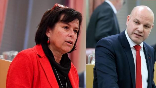 SPÖ-Landesrätin Birgit Gerstorfer, kritisch beäugt von SPÖ-Sozialsprecher Peter Binder (Collage) (Bild: Land OÖ/Denise Stinglmayr, Harald Dostal)