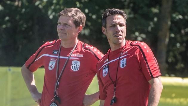 Mike Berktold (re.) mit LASK-Coach Oliver Glasner. (Bild: EXPA)