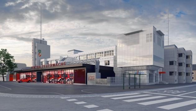 Transparente Fassade mit feuerwehrroter Wagenhalle - so wird die neu gestaltete Feuerwehr-Zentrale auf dem Lendplatz aussehen. (Bild: Eva Kuß)