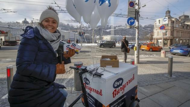 Unterkofler war bereits im Wahlkampf mit dem Fahrrad unterwegs. (Bild: Tschepp Markus)