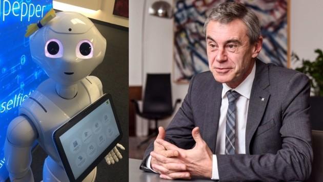Raiffeisenlandesbank-Oberösterreich-Generaldirektor Heinrich Schaller stellte gestern Pepper (l.) vor. (Bild: Markus Wenzel, Barbara Kneidinger)