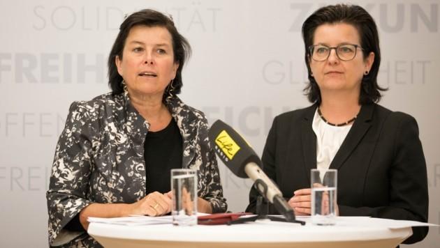 SPÖ-Landesvorsitzende Birgit Gerstorfer und Landesgeschäftsführerin Bettina Stadlbauer (r.) (Bild: ZVG)