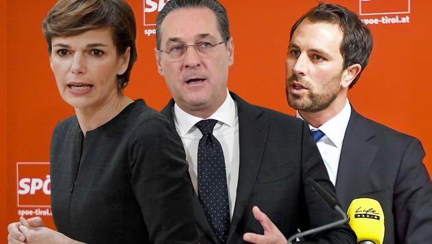 Für den Tiroler SPÖ-Chef Georg Dornauer (rechts) ist eine Zusammenarbeit zwischen Bundesparteichefin Pamela Rendi-Wagner und FPÖ-Chef Heinz-Christian Strache durchaus vorstellbar. (Bild: APA/ROLAND SCHLAGER, APA/HANS KLAUS TECHT, APA/EXPA/ERICH SPIESS, krone.at-Grafik)