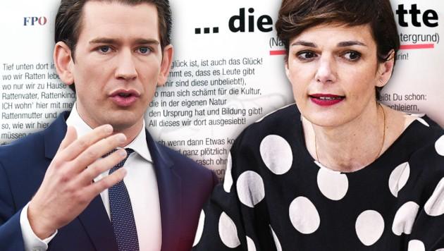 (Bild: APA/HANS PUNZ, APA/AFP/FREDERICK FLORIN, FPÖ Oberösterreich, krone.at-Grafik)