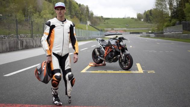 Matthias Lanzinger beim Training auf dem Salzburgring. (Bild: Tröster Andreas)