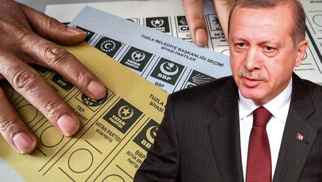 Dem Antrag der Partei von Präsident Recep Tayyip Erdogan ist nun stattgegeben worden: Die Bürgermeisterwahl in Istanbul wird wiederholt. (Bild: APA/AFP/Ozan KOSE, EPA, krone.at-Grafik)