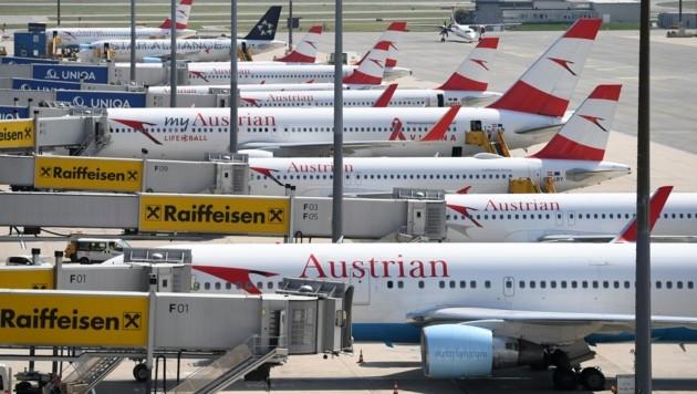 Flugzeuge am Flughafen Wien-Schwechat (Bild: APA/Helmut Fohringer)