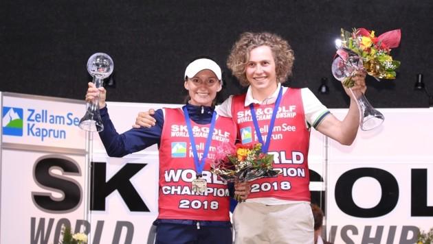 Gewann 2018 die Herren-Wertung: Sam Maes (re.), der für Belgien startende Pinzgauer. (Bild: skigolfworldcup.com)