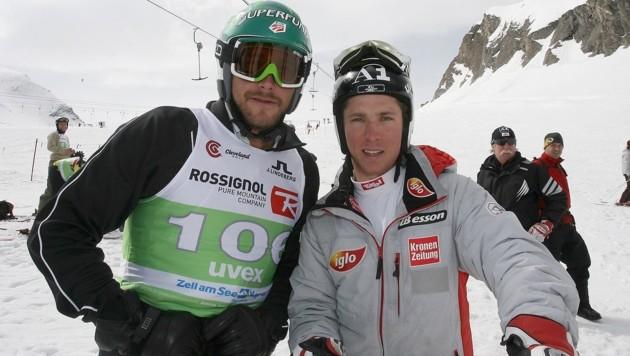 Duellierten sich 2009 bei der Ski & Golf-WM: Miller (li.) und Hirscher. (Bild: Andreas Troester)