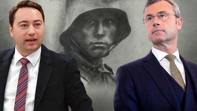 Manfred Haimbuchners FPÖ Oberösterreich hat Norbert Hofers Lieblingsmaler für den Landeskulturbeirat nominiert. (Bild: galleria.thule-italia.com/m-odin-wiesinger/, APA/GEORG HOCHMUTH, APA, krone.at-Grafik)
