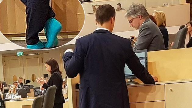 Blümel zeigte am Mittwoch im Parlament während einer Debatte seine türkisen Socken. Die SPÖ reagierte darauf erbost. (Bild: twitter.com/SPOE_at, krone.at-Grafik)