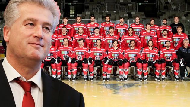 Österreichs Eishockey-Teamchef Roger Bader mit seinem WM-Team von 2019 ... (Bild: GEPA)