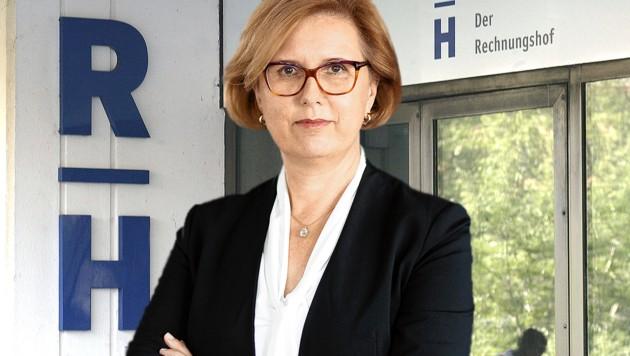 Margit Kraker, Präsidentin des Rechnungshofes (Bild: Rechnungshof/Vyhlanek, APA/Harald Schneider, krone.at-Grafik)