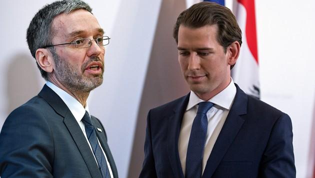 Herbert Kickl und Sebastian Kurz (Bild: APA/AFP/Alex Halada, APA/Barbara Gindl, krone.at-Grafik)