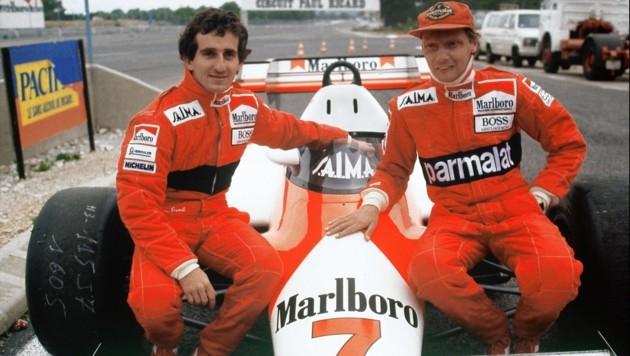Die einstigen Teamkollegen Alain Prost und Niki Lauda (Bild: AFP)