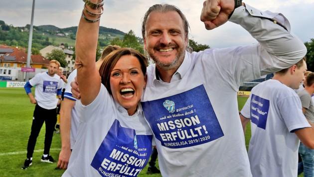 Hartberg-Präsidentin Brigitte Annerl (hier mit Coach Markus Schopp) (Bild: GEPA)