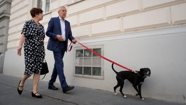 """Bundespräsident Alexander Van der Bellen mit Ehefrau Doris Schmidauer und Hund """"Juli"""" (Bild: APA/BUNDESHEER/PETER LECHNER)"""