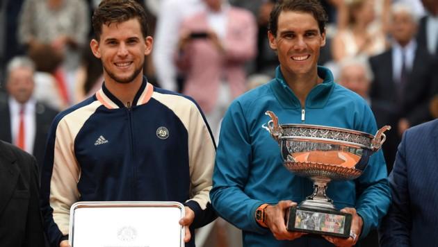 Im Vorjahr musste sich Dominic Thiem nur einem geschlagen geben: Rafael Nadal im Finale (Bild: APA/AFP/Christophe ARCHAMBAULT)