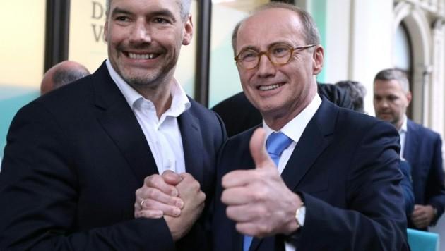 ÖVP-Generalsekretär Karl Nehammer und Spitzenkandidat Othmar Karas (Bild: APA/GEORG HOCHMUTH)