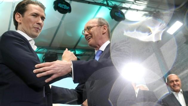 Bundeskanzler Sebastian Kurz und ÖVP-Spitzenkandidat Othmar Karas (Bild: APA/GEORG HOCHMUTH)