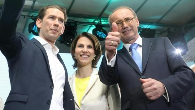 Bundeskanzler Sebastian Kurz, ÖVP-Listenzweite Karoline Edstadler und Spitzenkandidat Othmar Karas (Bild: APA/GEORG HOCHMUTH)