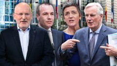 Von links: Der sozialdemokratische Niederländer Frans Timmermans, der deutsche EVP-Mann Manfred Weber, die liberale Dänin Margrethe Vestager und der konservative Franzose Michel Barnier gelten als Favoriten für das Amt des Kommissionspräsidenten. (Bild: APA/AFP/INA FASSBENDER, AP, AFP, stock.adobe.com, krone.at-Grafik)