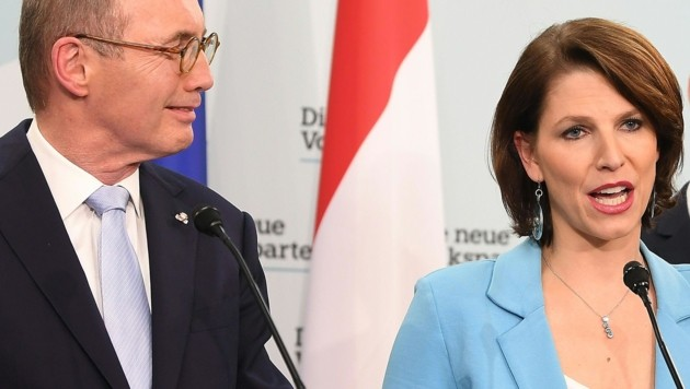 Karoline Edtstadler und Othmar Karas (Bild: APA/HELMUT FOHRINGER)
