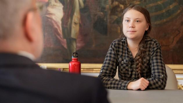 Greta Thunberg bei Bundespräsident Alexander Van der Bellen. (Bild: APA/BUNDESHEER/PETER LECHNER)