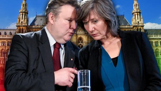 Heute eine Mehrheit - aber Michael Ludwig läuft wegen der Grünen mit Birgit Hebein die Zeit davon. (Bild: APA/HANS KLAUS TECHT, stock.adobe.com, krone.at-Grafik)