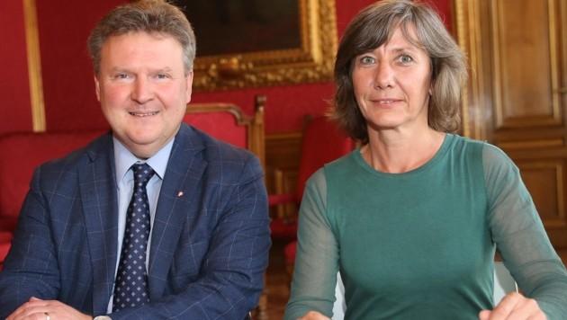 Das rot-grüne Duo Michael Ludwig und Birgit Hebein (Bild: Peter Tomschi )