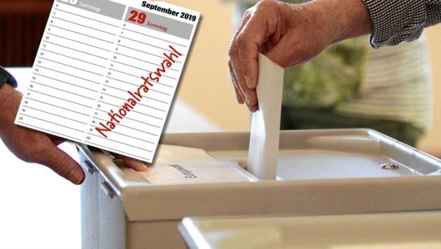 Am 29. September wird ein neuer Nationalrat gewählt. (Bild: APA/EXPA/Eibner-Pressefoto/Daniel Fleig, Krone-Grafik, krone.at-Grafik)