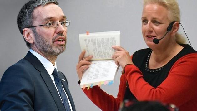 Herbert Kickl (FPÖ) und seine Cousine Daniela, die für die Grünen kandidieren möchte. (Bild: APA/Barbara Gindl, SPÖ Kärnten, krone.at-Grafik)