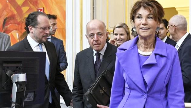 Außenminister Alexander Schallenberg, Vizekanzler und Justizminister Clemens Jabloner, Bundeskanzlerin Brigitte Bierlein (Bild: APA/HANS PUNZ)