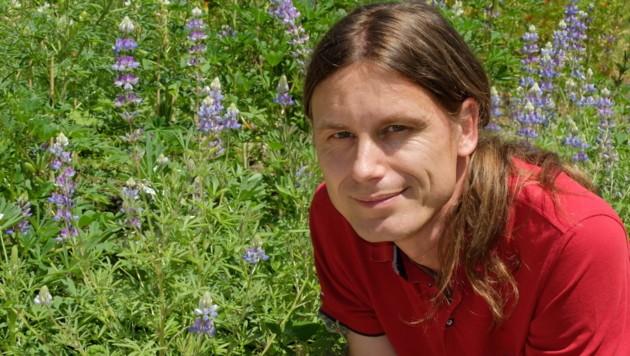 """Botaniker Felix Schlatti mit """"Himmelslupinen"""". Schon in der Antike wurden weiße und blaue """"Wolfsblumen"""" angebaut. (Bild: RK Eberwein)"""