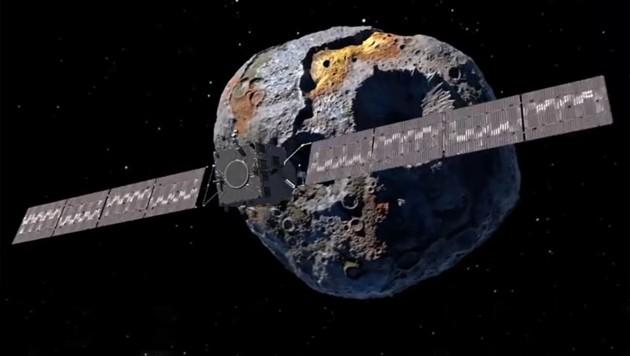 """Künstlerische Darstellung: Die NASA-Raumsonde """"Psyche"""" im Orbit des Asteroiden (16) Psyche (Bild: NASA)"""