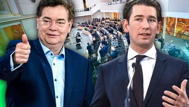 Grünen-Chef Werner Kogler (li.), ÖVP-Chef Sebastian Kurz (Bild: APA/AFP, APA/HANS KLAUS TECHT, APA/Georg Hochmuth, krone.at-Grafik)
